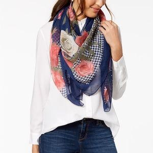 INC Houndstooth Floral Square Scarf